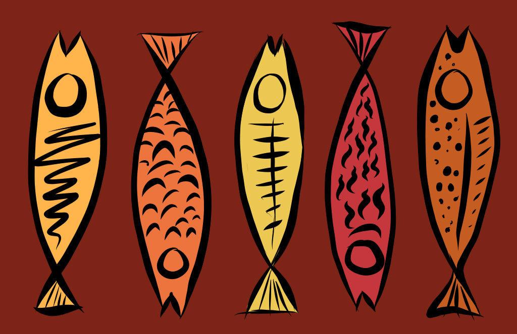 5 Fish Digital Drawing