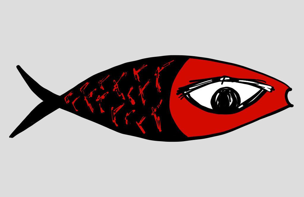 Big Human Eye Fish Digital Drawing