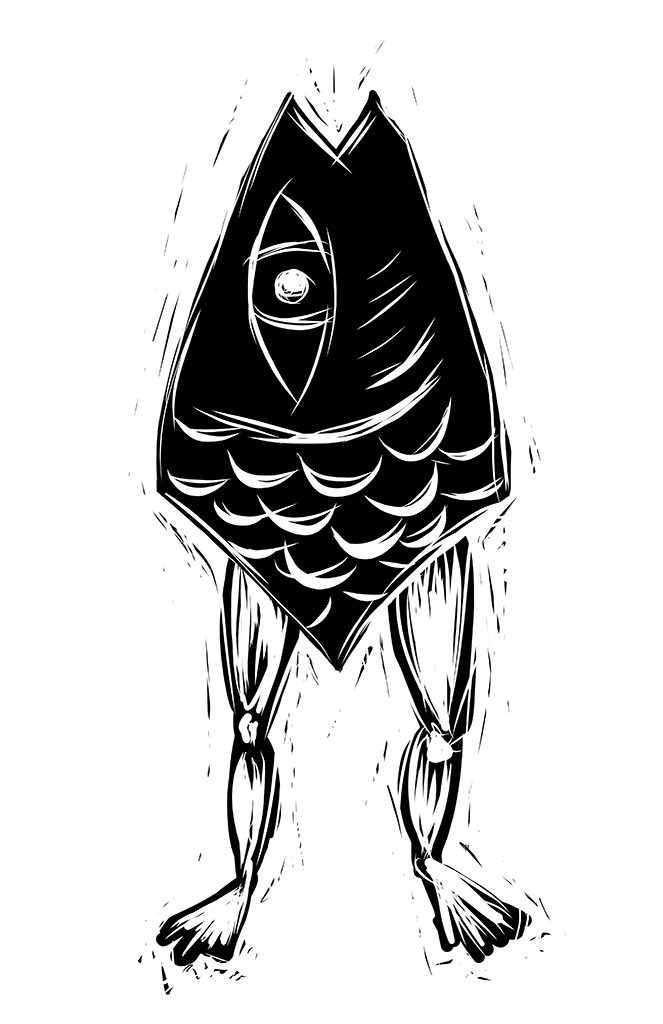 Fish with Legs Digital Drawing