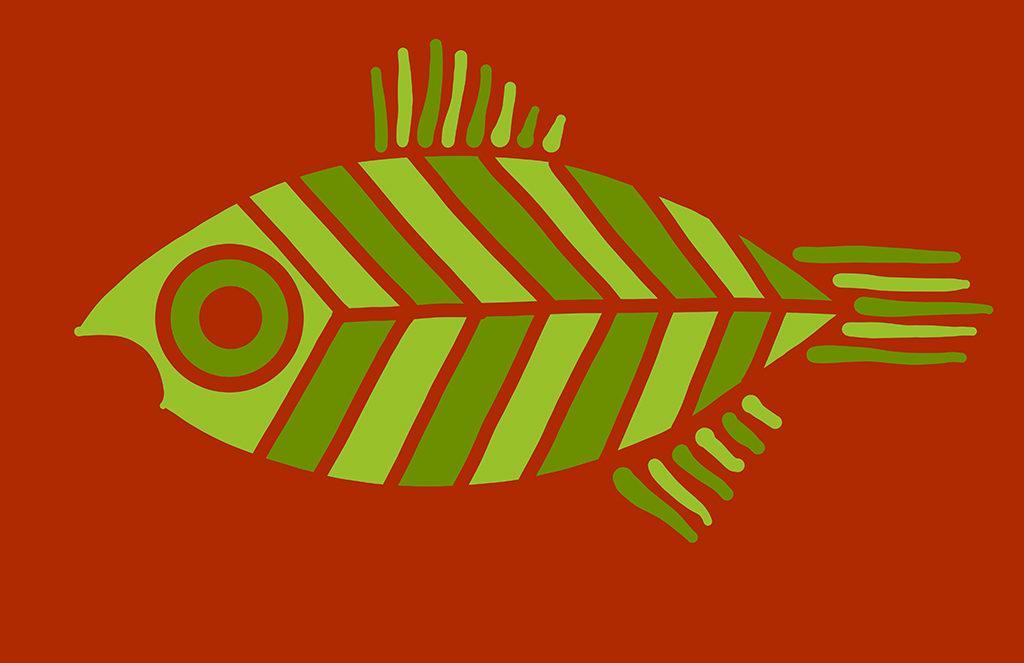 Green Striped Fish Digital Drawing