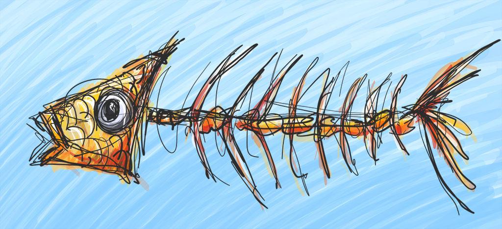 Fish Skeleton Digital Drawing