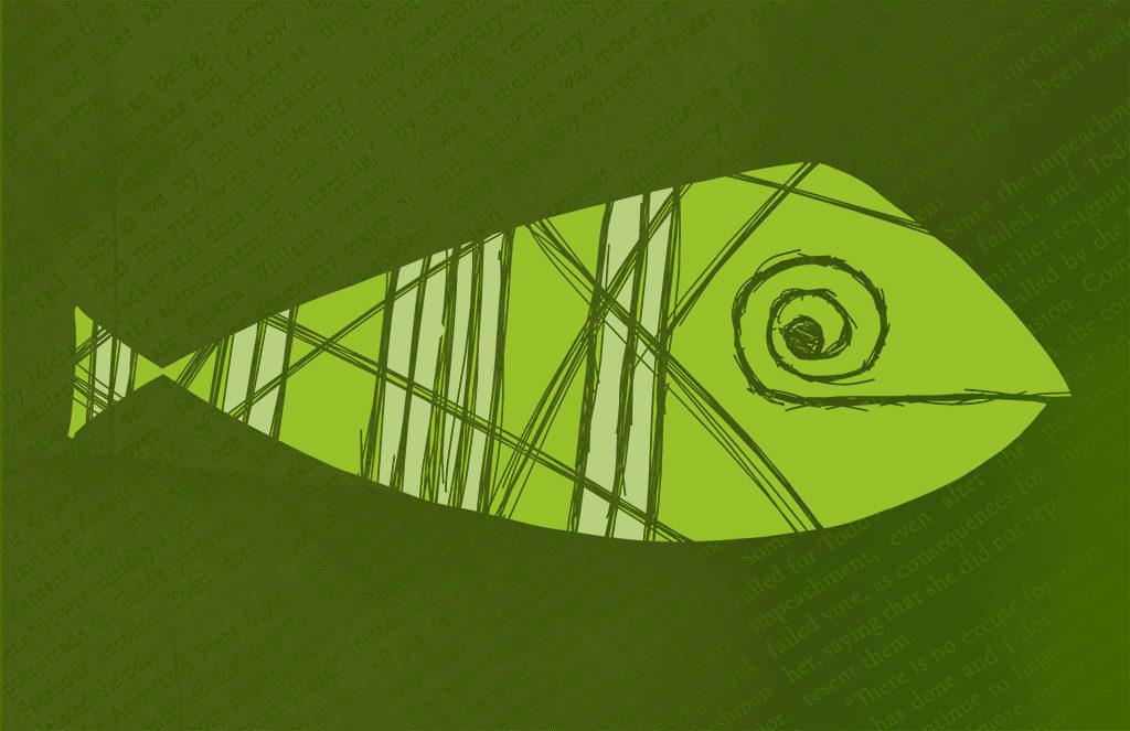 Green Stripped Fish Digital Drawing