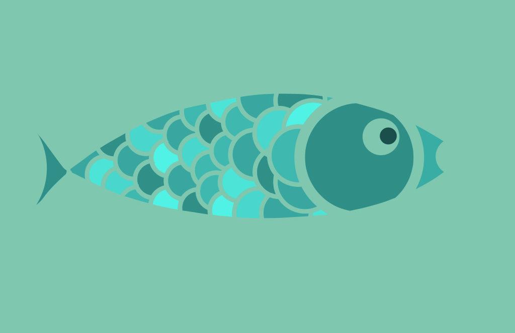 Light Blue Green Fish Digital Drawing