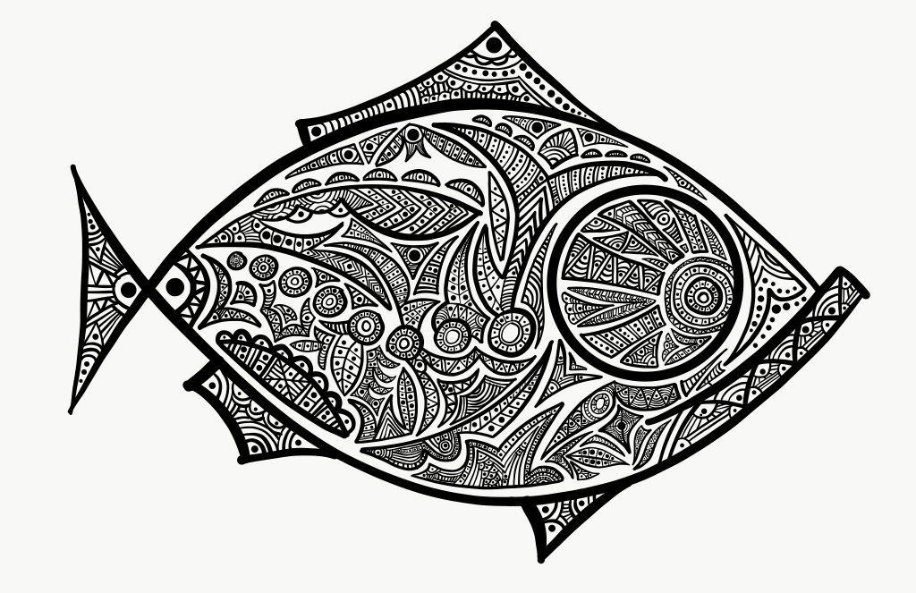 Paisley Fish Digital Drawing