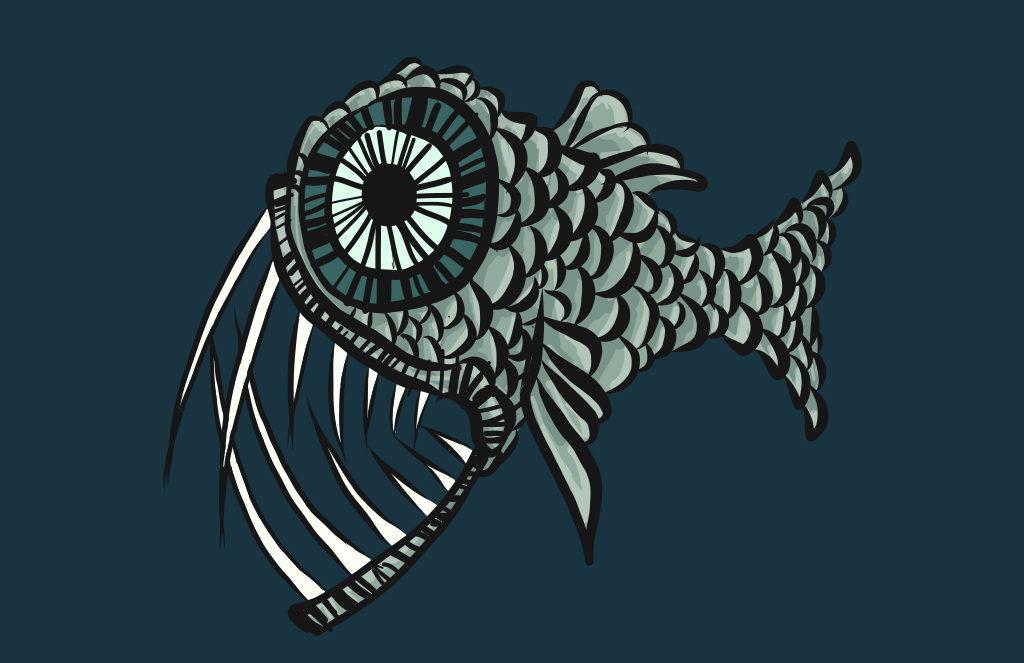 Sharp Teeth Fish Digital Drawing