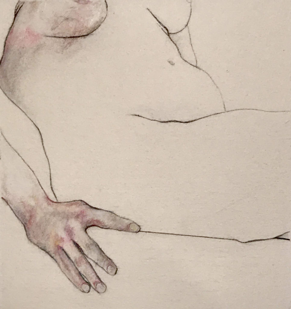 Nude with Hand Pencil on Paper