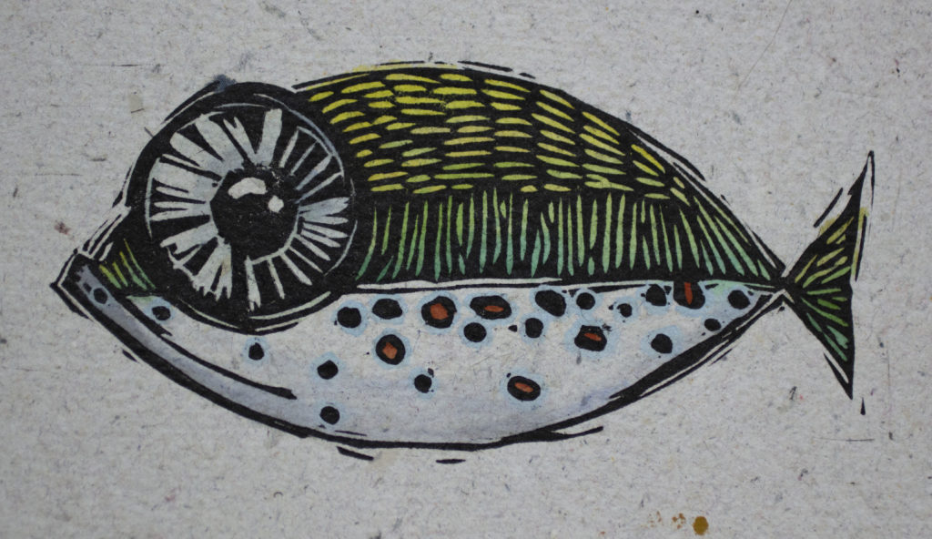 Big Eye Fish Linoleum Cut
