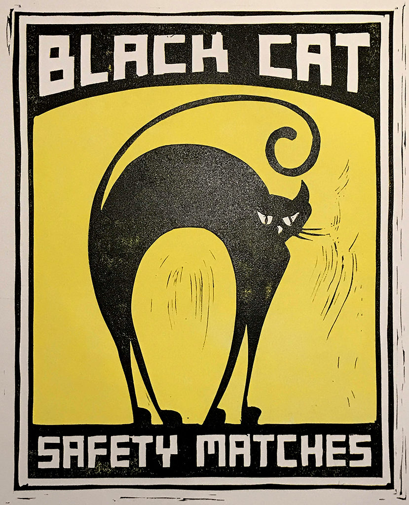 Black Cat Safety Matches 1 Linoleum Cut