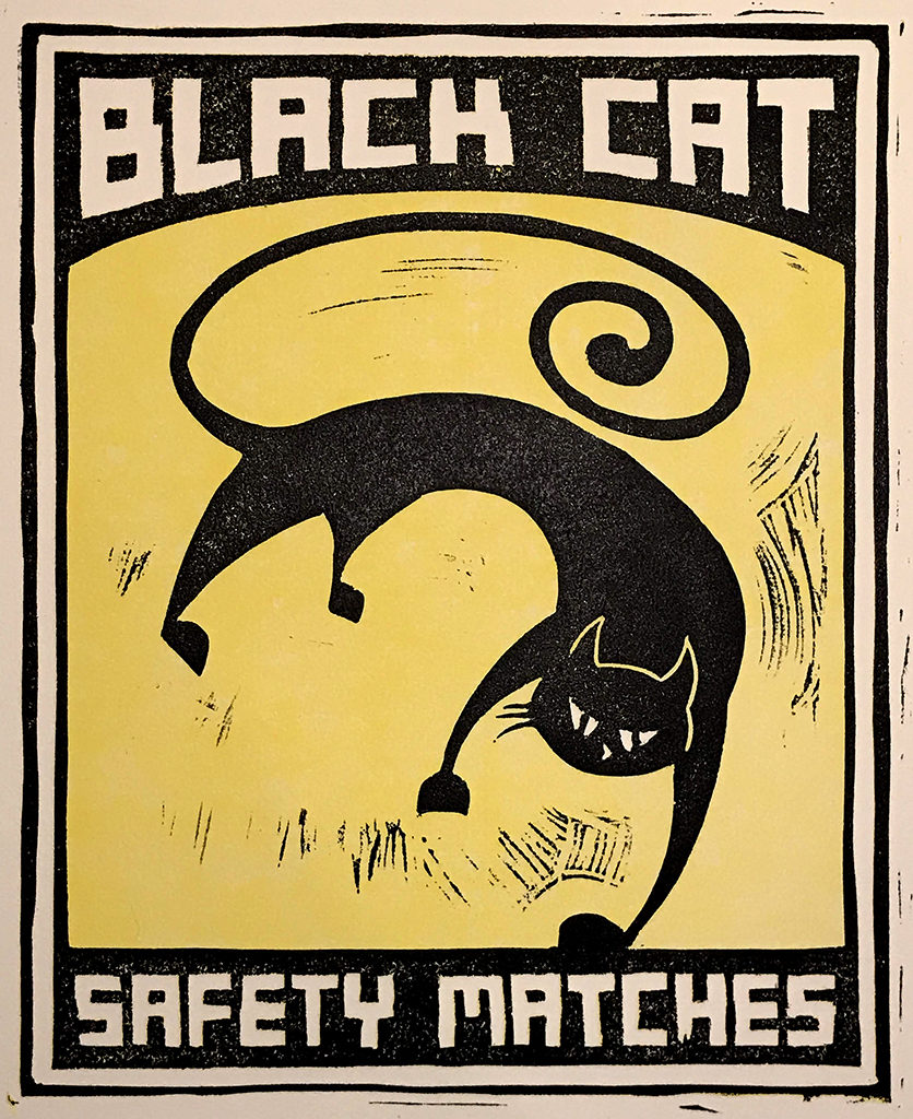 Black Cat Safety Matches 2 Linoleum Cut