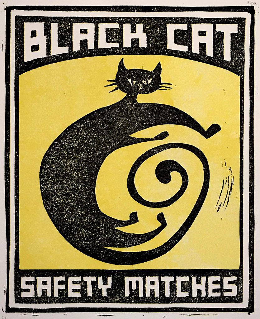 Black Cat Safety Matches 3 Linoleum Cut