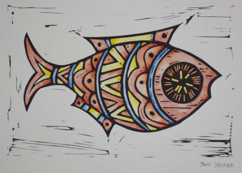 Color Fish Linoleum Cut