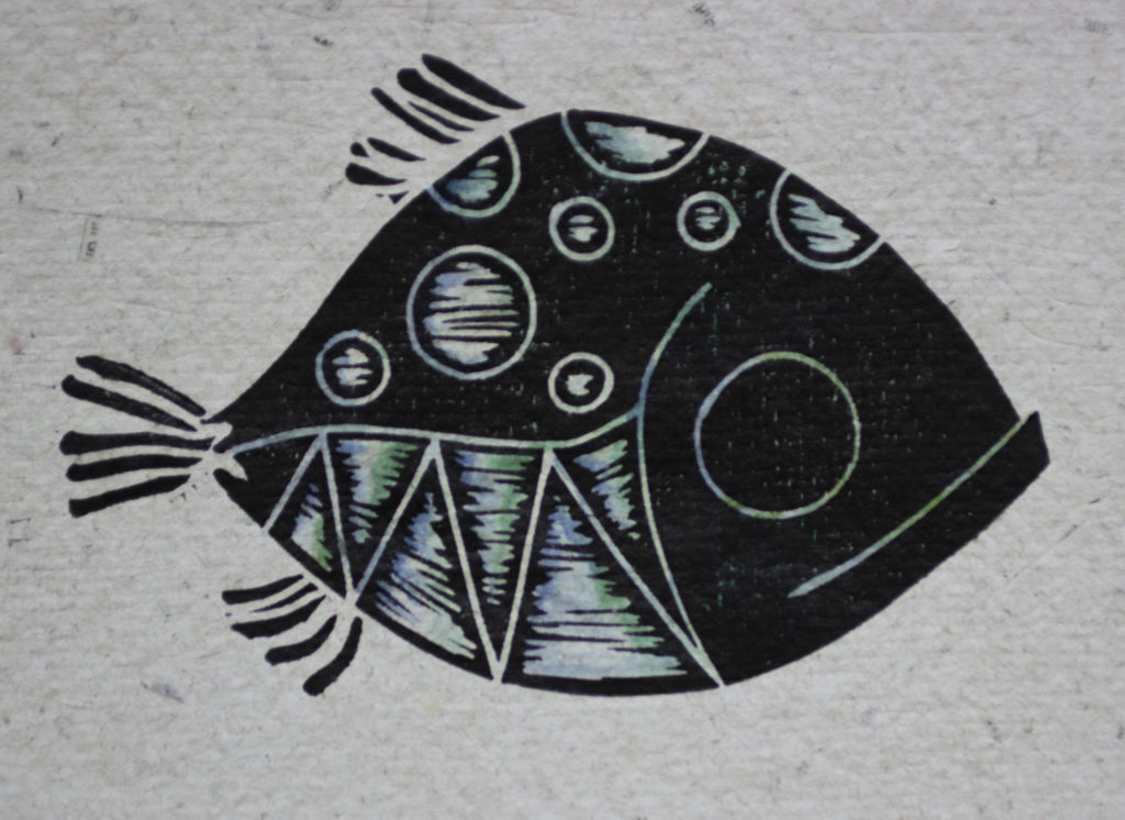 Happy Fish Linoleum Cut