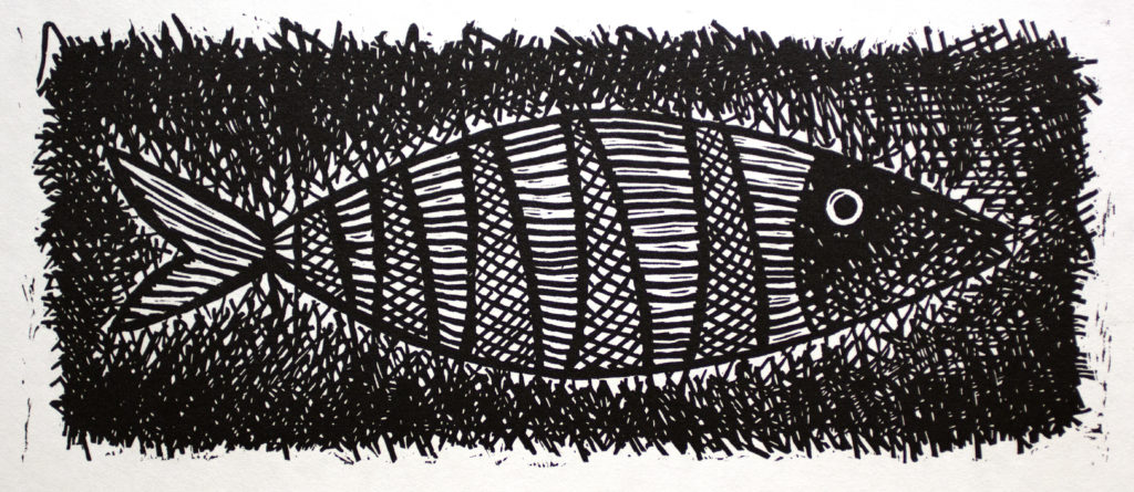 Scribble Fish Linoleum Cut