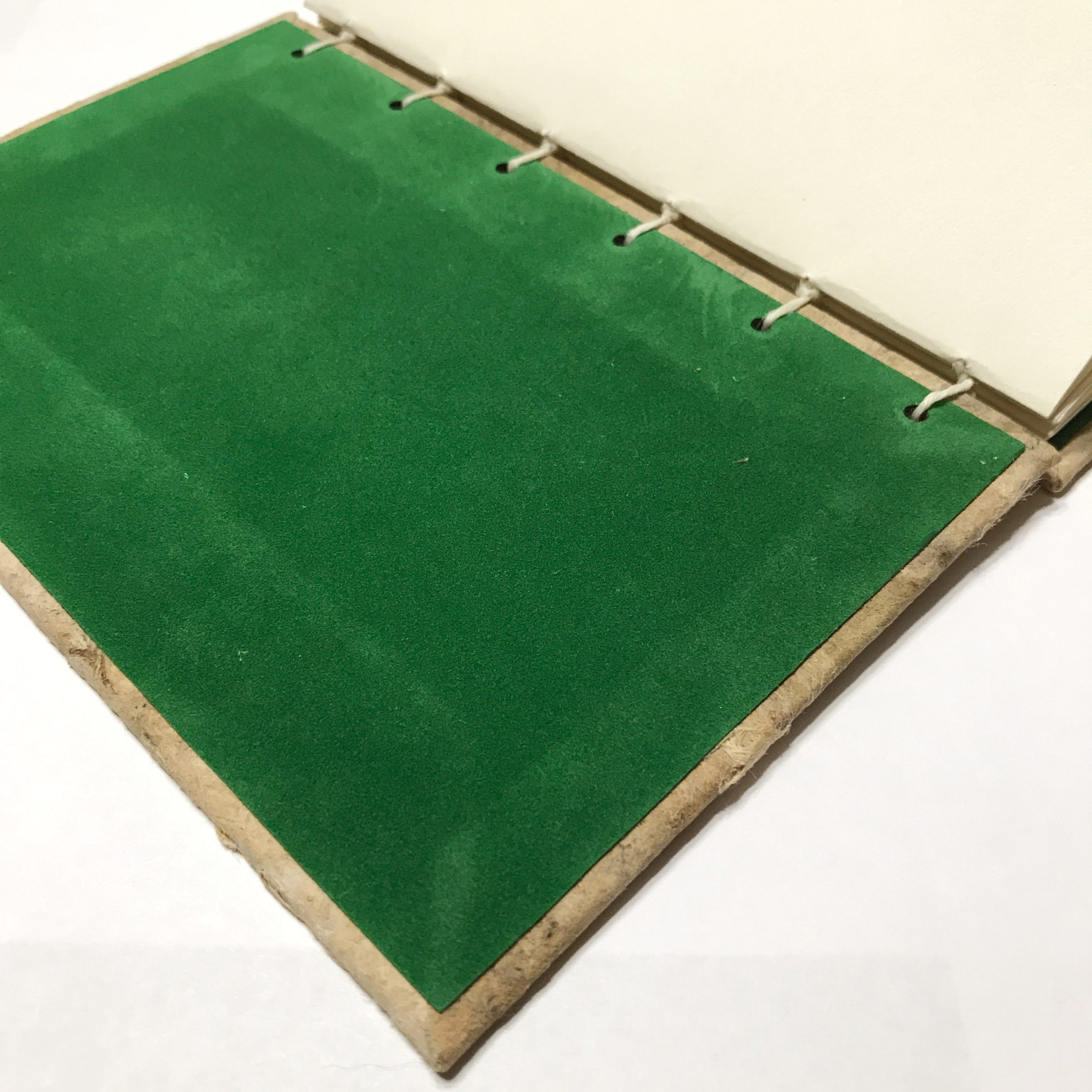 Inside cover of natural bark cover sketchbook with green velvet