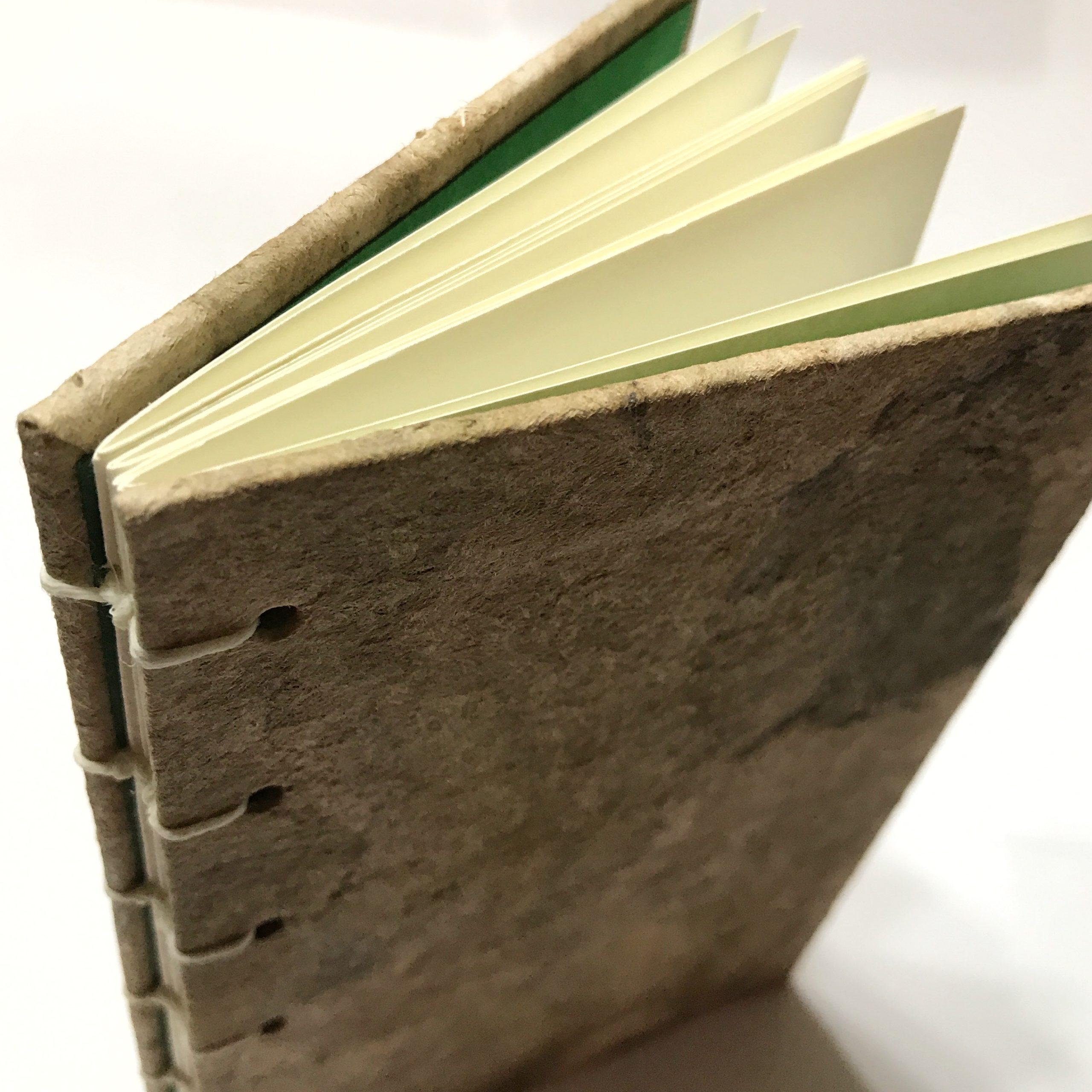 Top view of natural bark cover sketchbook