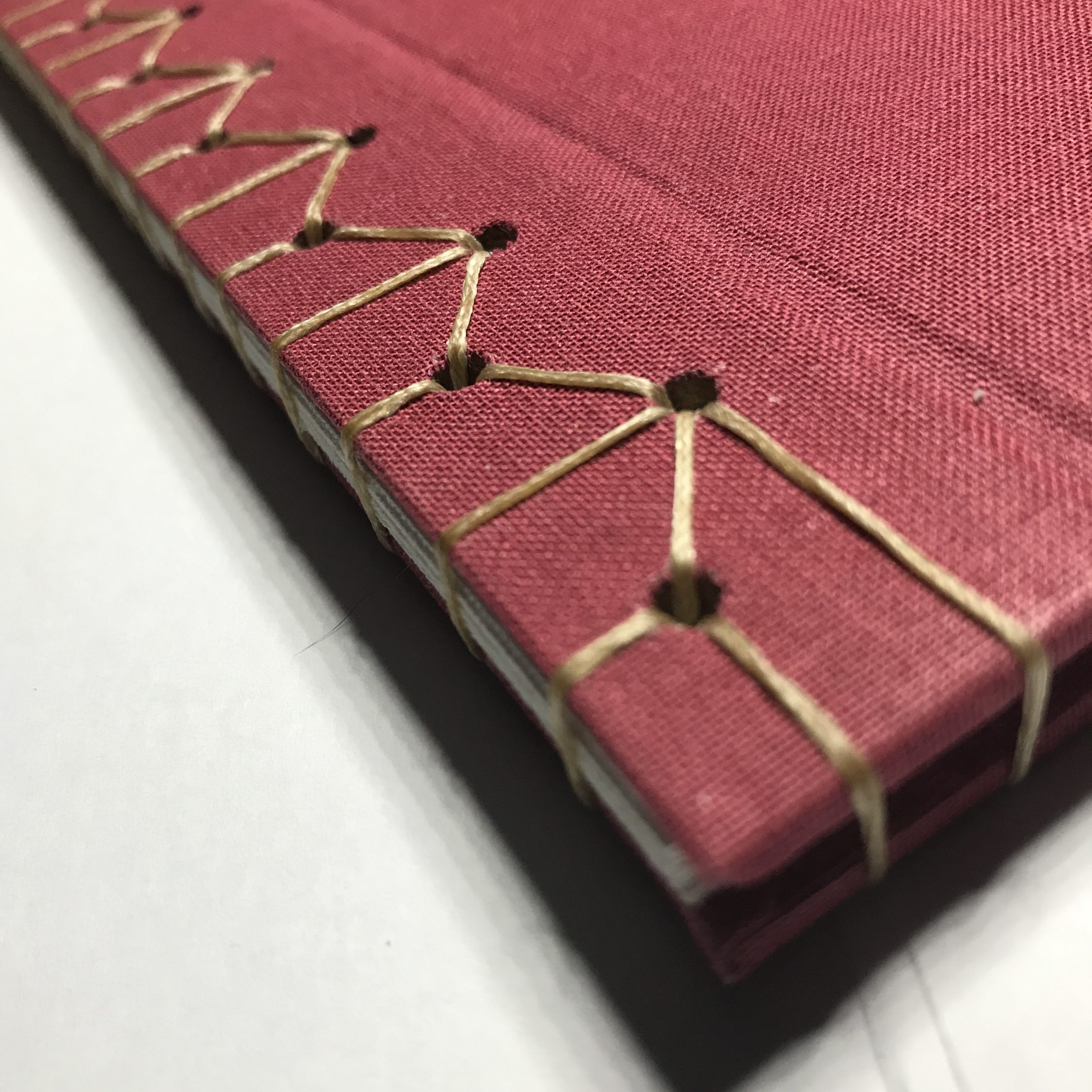 Closeup of stab stitching