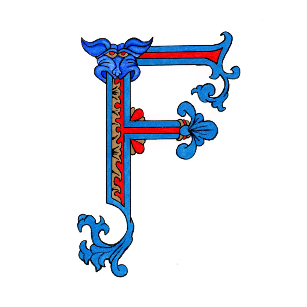 """Romanesque Inspired F in Blue   Ink on Paper   3.25"""" x 4.75""""   2021"""