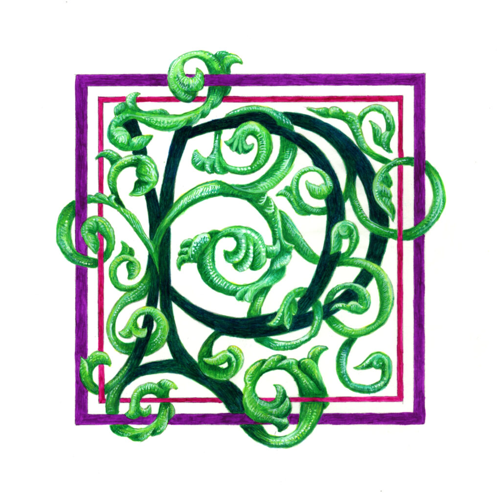 """P with Green Vines   Ink and Gouache on Paper   4.5"""" x 4.5""""   2021"""